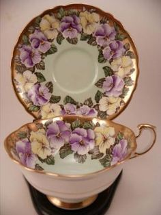 Vintage Paragon China Fancy Tea Cup & Saucer Set ~ Double Warrant ~ Pansy & Gilt by mavrica