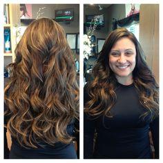 Klix hair extensions & brown hair with Carmel highlights