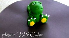 2 3D Fondant Dinosaur Cake Toppers by AmazeWithCakes on Etsy