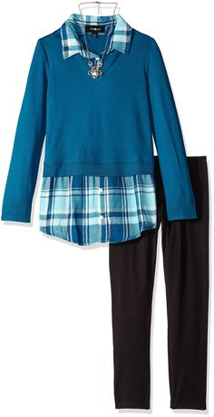 Amy Byer Big Girls' 2fer Top with Plaid Shirt and Legging-Exclusive, Peacock, Large. Knit to woven. With necklace. With legging.