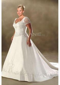 A-ligne robe de mariée grande taille col en v satin organza traîne chapelle [#M1408056469] - modanie