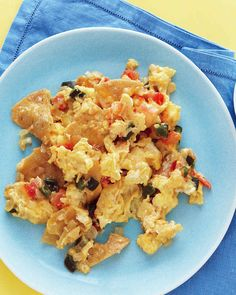 Add a Southwestern twist to your morning scrambled eggs with torn corn tortillas; add chile and tomato for flavor as well as lively color.