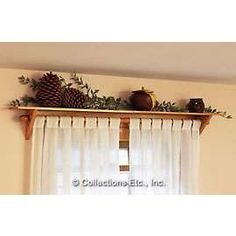 wooden curtain rods | Curtain Rod Shelf |