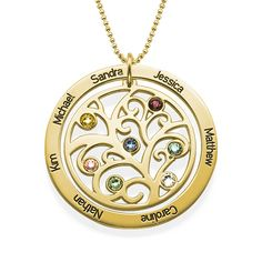 Family Tree Birthstone Necklace - 18k Gold Plated | MyNameNecklace