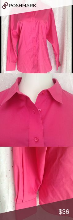 PLUS (22) Foxcroft Bright Pink Button Up Great oxford style that can be worn open with a tank or cami, or closed.  Looks great under a blazer for cooler months.  Excellent Foxcroft quality.  I don't remember wearing this, but I do not have tags.  Wrinkle free type with 55% cotton 45% polyester.  Measurements taken, lying flat, straight across, in inches. Length: 29.5 Bust: 28 Shoulders across: 21.75 Shoulder to bottom or sleeve: 23.5 Foxcroft Tops Button Down Shirts