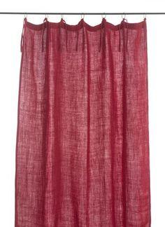 En-fil-dindienne - Rideaux en lin frangé - Framboise - 150x300 cm
