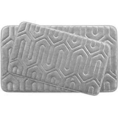 Bounce Comfort Extra-Thick Memory Foam Bath Mat, Thea Premium Micro Plush Mat with BounceComfort Technology, Set of 2, Gray