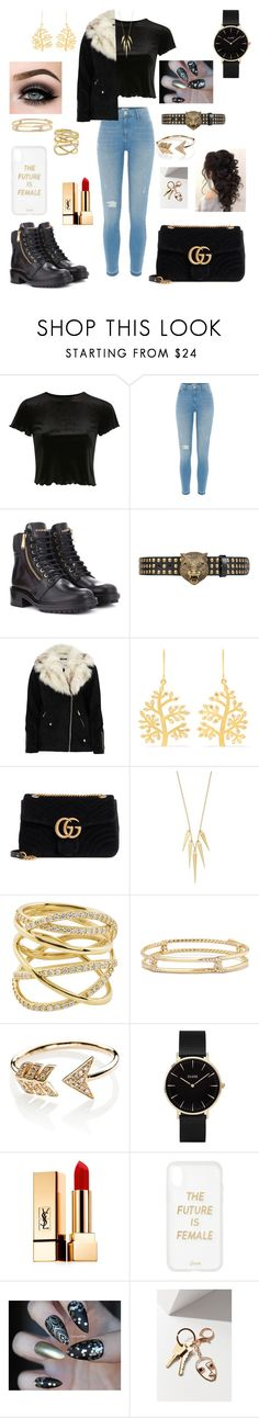 """""""Untitled #81"""" by xclautjex ❤ liked on Polyvore featuring Topshop, River Island, Balmain, Gucci, Pippa Small, Lana, David Yurman, EF Collection, CLUSE and ASAP"""