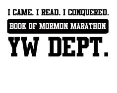 """This was the image we printed on t-shirts and tote bags that we gave to the Young Women when they """"registered"""" the morning of the Book of Mormon Marathon."""