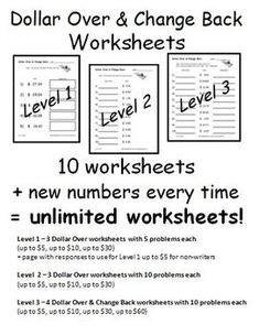 Dollar Over & Change Back *Unlimited* Worksheets for Special Education - $