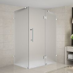 """Avalux 33"""" x 34"""" x 72"""" Completely Frameless Hinged Shower Enclosure, Frosted Glass"""
