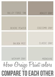 Perfect Wall Color + How Greige Colors Compare to Each Other The best Benjamin Moore greige paint colors and how they compare to each other.The best Benjamin Moore greige paint colors and how they compare to each other. Greige Paint Colors, Interior Paint Colors, Paint Colors For Home, House Colors, Interior Design, Paint Colours, Interior Painting, Griege Paint, Best Neutral Paint Colors