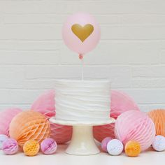 'Little Heart' Balloon Cake Topper Kit (Blush/Gold) Cake for boy Cute Cakes, Pretty Cakes, Beautiful Cakes, Mini Balloons, Heart Balloons, Cake Pops, Cake Smash, Balloon Cake, Blush And Gold