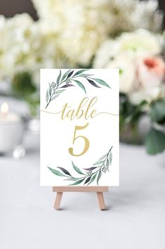 Greenery Table Numbers Wedding Table Number Gold Table Etsy - TheRusticEleganceCo