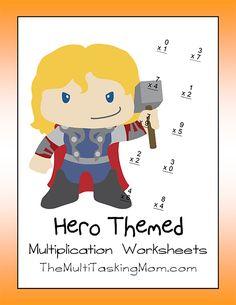 Hero Themed Multiplication Worksheet