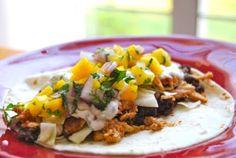 caribbean jerk chicken tacos w/ black bean mash and mango relish from macaroni and cheesecake