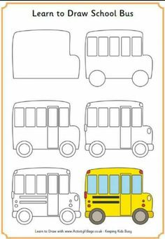 Learn to Draw a School bus Bus safety week October 2014 Easy Drawings For Kids, Drawing For Kids, Art For Kids, Simple Car Drawing, Doodle Drawings, Doodle Art, How To Doodle, Drawing Lessons, Art Lessons