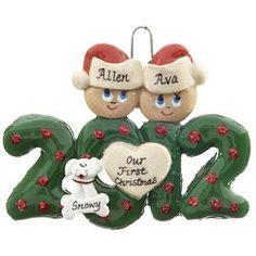 Snow Couple with Tan Puppy Dog Christmas Ornament  Christmas