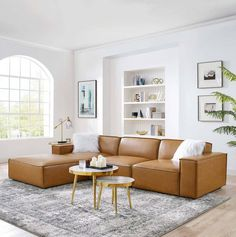 Tan Leather Sectional, Modern Leather Sofa, Leather Sectional Sofas, Leather Modular Sofa, Cognac Leather Sofa, Leather Daybed, Tan Sofa, Modern Couch, Leather Lounge
