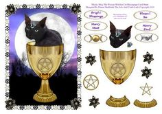 Mystic Mog The Wiccan Witches Cat Decoupage Card Sheet on Craftsuprint designed by Elaine Sheldrake - Mog is taking liberties and is sitting in the Chalice in the light of a full moon, but you have to admit it does look quite magical. Pagan and Wiccan card sheets, not just for Halloween but for all sorts of Pagan Festivals, including Handfasting, Yule, Beltane, Samhain, Lughnasadh or Lammas etc. I shall be adding more to this series so look out for them, just click onto my name to see them…
