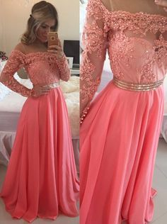 Buy Simple Dress 2015 A-line Off Shoulder Floor-length Chiffon Beading Illusion Sleeves Prom Dress/Evening Dress CHPD-80014 2016 Prom Dresses under US$ 215.99 only in SimpleDress.