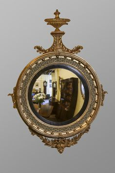 Regency convex mirror Ca1812-30 England. Antique Mirrors, Antique Photos, English Country Style, English Countryside, Convex Mirror, Mirror Mirror, Georgian Furniture, Antique Furniture, Money Frame