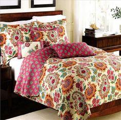 3 Piece Cotton Floral Patchwork Bedspread/Quilt Sets
