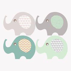 Bilder - Holzbild 40x40 cm - 4 Elefanten - ein Designerstück von em-ma-art bei DaWanda