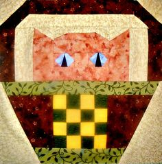 Checkerboard Cat Quilt Block Pattern by CurlicueCreations on Etsy, $3.00