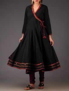 Buy Black Hand Embroidered Cotton Kalidar Angarakha Apparel Tunics & Kurtas Desert Song Folk Inspired in Silk and Khadi Online at Jaypore.com