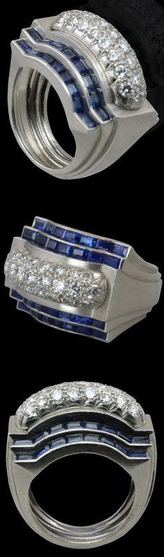 CARTIER, New York.Art Deco c1925.Pave set diamond & calibre sapphire ring