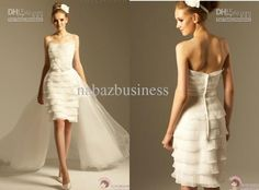 Strapless Layered Front Short Long Back Bridal Gown Detachable Train Tulle Party…