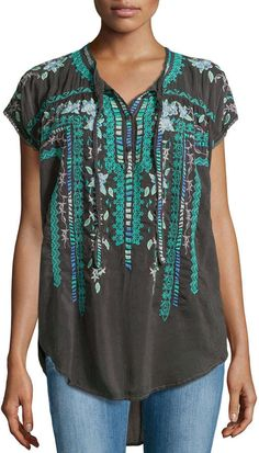 Plus Size Johnny Was Athina Embroidered High-Low Georgette Blouse