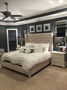 Serene Bedroom- Bed by Bernhardt, Lamps by Pacific Coast, Pictures, Mirrors- HomeGoods, Night tables - Rue La La.  Paint- Peppercorn by Sherwin Williams.