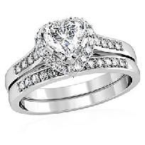4CT HEART & ROUND PRINCESS ILIANA BRIDAL/WEDDING RING SET SZ 5-10