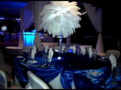 Rent Winter Wonderland Themed Centerpieces by Sweet 16 Candelabras Call ( Royal Blue Centerpieces, White Centerpiece, Wedding Centerpieces, Blue Feather, White Feathers, Ostrich Feathers, Centerpiece Rentals, Centerpiece Decorations, Ostrich Feather Centerpieces