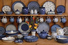 Country Traditionals - the finest Polish Pottery online. This is where all of my Polish Pottery is from, Love it! Blue And White China, Love Blue, Blue China, Polish Pottery, Krakow, Ceramic Pottery, Talavera Pottery, Blue Pottery, Mccoy Pottery