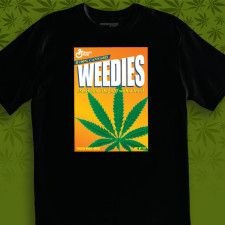 Smoke your Weedies!  Herbivore designs black tee. The graphic looks like a digital mock-up, so it's kind of hard to tell what the deal is with this shirt.