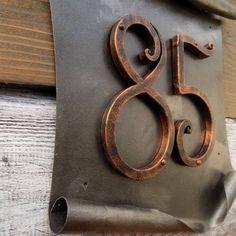 Designer House Number / Metal scroll / House Number / Address numbers / Metal House Numbers / house address / home address / rustic number - Today Pin Large House Numbers, Metal House Numbers, House Number Plaque, Address Numbers, Address Plaque, Door Design, House Design, Gate Design, Sheet Metal Art