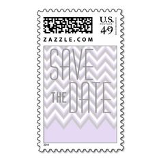 Modern chevron grey lavender wedding Save the Date Postage