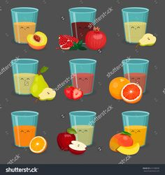 Set of happy glasses with juice. Vector illustration. Cartoon