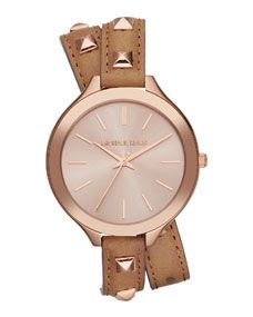 Michael Kors Mid-Size Rose Golden Pyramid-Stud Leather Runway Watch.... NEED THIS