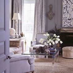Soft and elegant. Mixing purple with grays creates a really soft inviting tone.