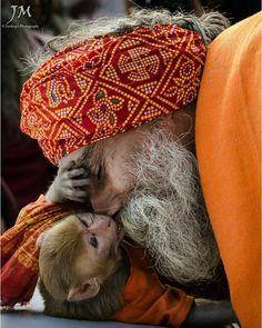 India. The Sadhu & the Monkey.
