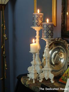 Shabby painted brass candleholders...so pretty!