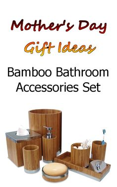 Bamboo Bathroom Accessories Set - Matching pieces include cotton swab/cotton container,soap dish, toothbrush holder, tumbler, soap, lotion pump, wastebasket, boutique tissue, amenity tray - #MothersDay