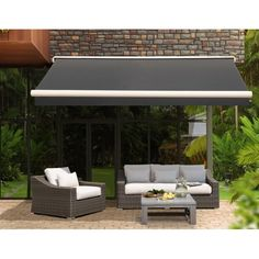 Keep your deck or patio shaded from the sun with the help of the Sunjoy Antracita Semi-Cassette Awning . The solid black polyester fabric is easy to. Pergola Plans, Diy Pergola, Pergola Kits, Pergola Ideas, Curved Pergola, Roof Ideas, Wooden Pergola, Backyard Ideas, Black Pergola