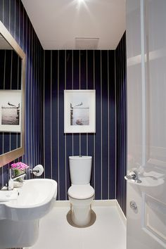 Love the dark blue walls with the white tiny stripes for bathroom- easy DIY with a paint Pen. Hmmm