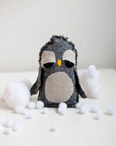 Hand sewn soft sculpture  Peggy the penguin by sofiasobeide, $29.00