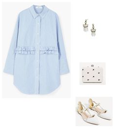 Time for Fashion. Blue striped shirt-dress+white studed flat pointed sandals+white printed clutch+earrings. Spring First Communion Guest Outfit 2017